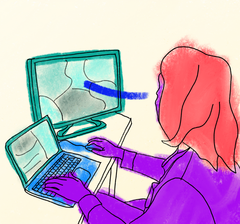 Drawing of a person sitting at a computer with technology in green tones, person in purple/red and contact points (gaze and interactive points for hands) in blue.