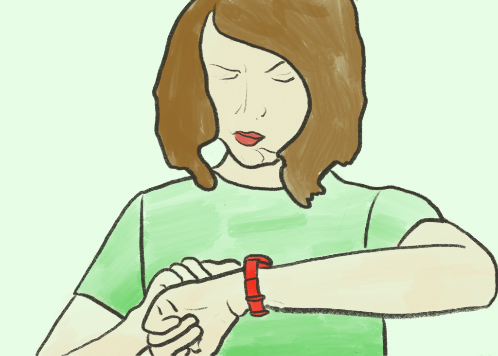 Drawing of a person annoyedly looking at their watch.