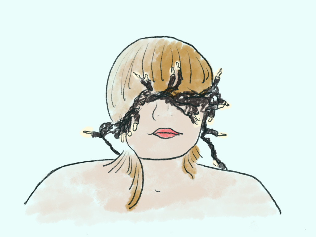 Drawing of a person wearing a chain of LEDs as a blindfold.