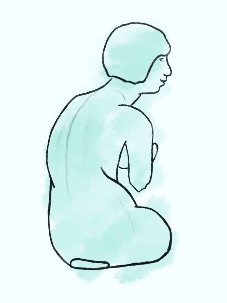 Sketch of a waiting person looking out into the distance.